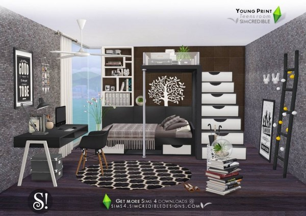 Simcredible designs young print bedroom sims 4 downloads for Bedroom designs sims 4