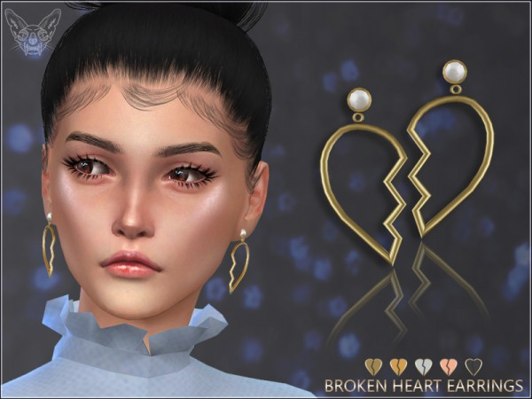 The Sims Resource: Broken Heart Earrings by feyona