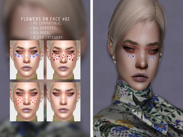 The Sims Resource: Flowers on face 02 by Scarlett content