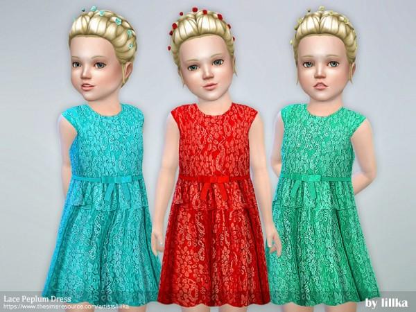 The Sims Resource: Lace Peplum Dress by lillka