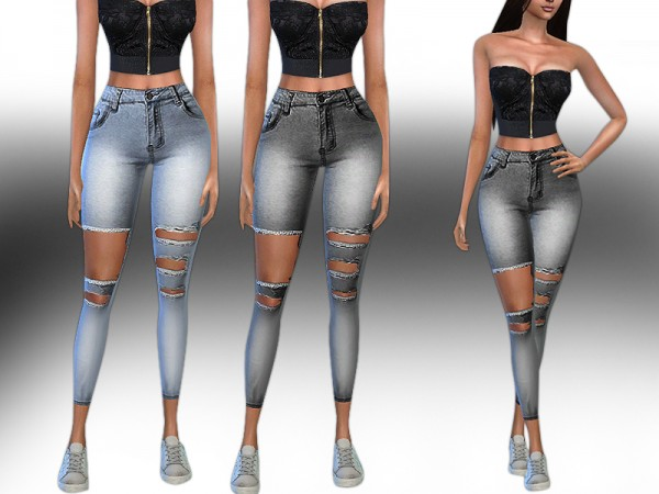 The Sims Resource: Trendy High Ripped Stretch Jeans by Saliwa