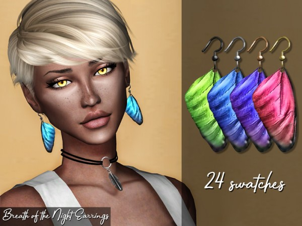 The Sims Resource: Breath of the Night Earrings by Genius666