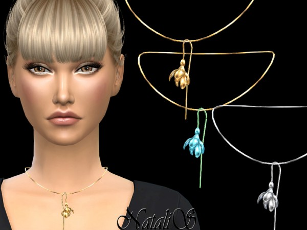 The Sims Resource: Spring flower pendant necklace by NataliS
