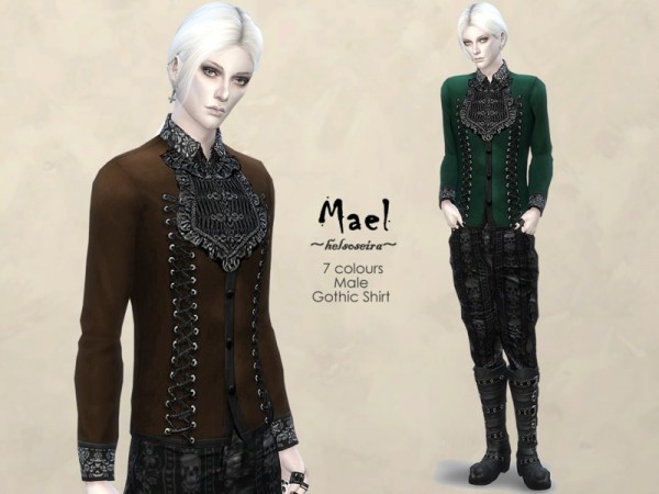 The Sims Resource: Mael   Gothic Shirt by Helsoseira