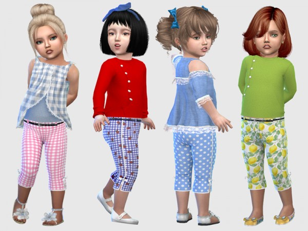 The Sims Resource: Toddlers Josie Cropped Pants by feyona
