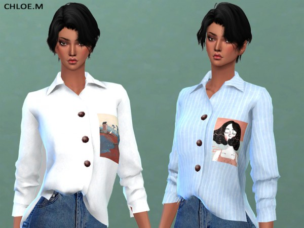 The Sims Resource: Blouse for female 03 by ChloeMMM