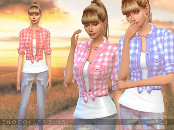 The Sims Resource: Knotted Plaid Shirt by MissSchokoLove