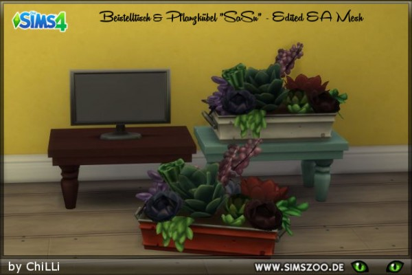 Blackys Sims 4 Zoo: Side table and planter by ChiLLi