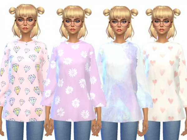 The Sims Resource: Over sized Tee Shirts by Wicked Kittie