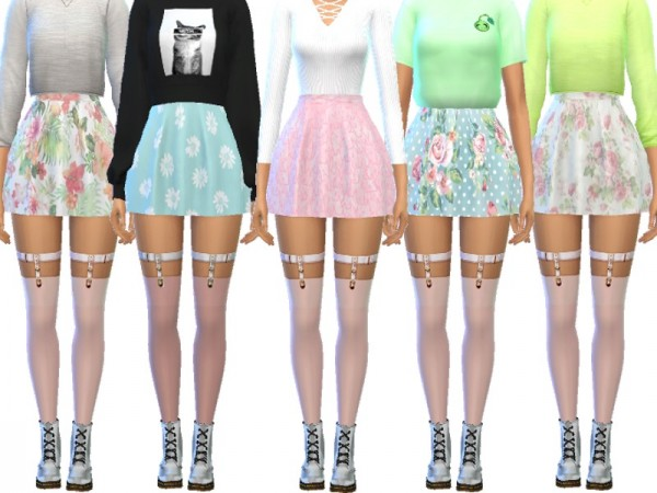 The Sims Resource: Pastel Skater Skirts by Wicked Kittie