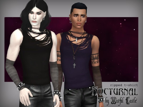 The Sims Resource: Nocturnal   ripped t shirt by WistfulCastle