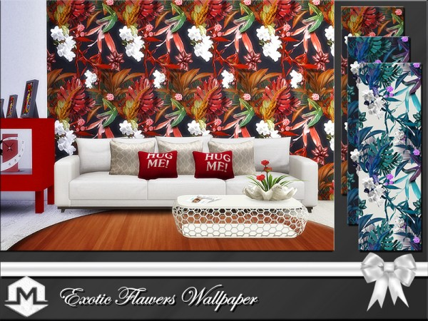The Sims Resource: Exotic Flowers Wallpaper by Moniamay72