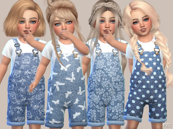 The Sims Resource: Denim Floral Overalls by Pinkzombiecupcakes