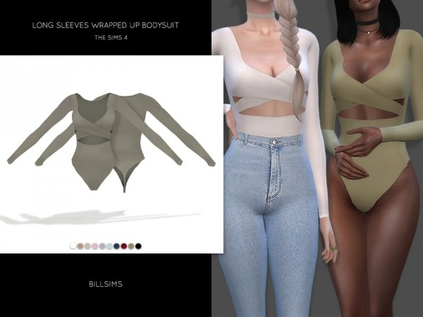 The Sims Resource: Long Sleeves Wrapped Up Bodysuit by Bill Sims