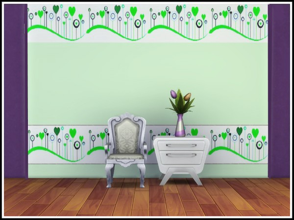 The Sims Resource: Hearts Frieze Walls by marcorse