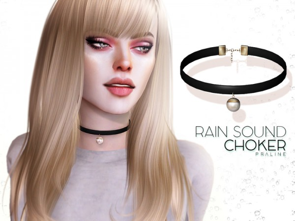 The Sims Resource: Rain Sound Choker by Pralinesims