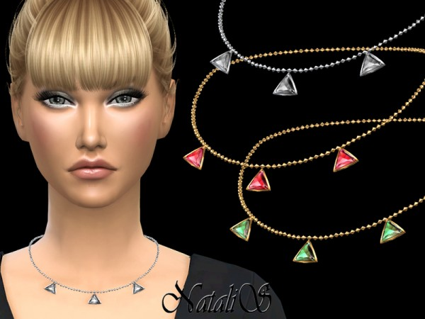 The Sims Resource: Triangle crystals necklace by NataliS