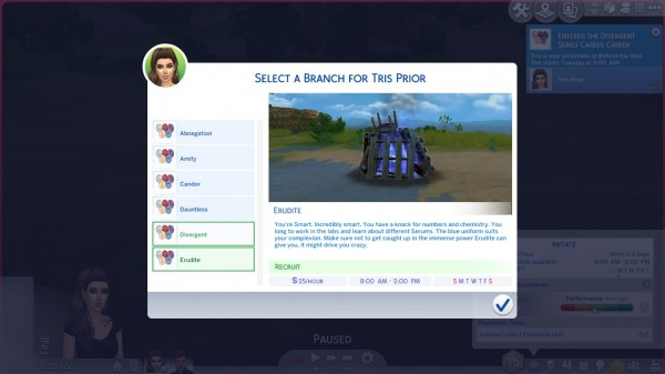Mod The Sims: Divergent Series Career by DiamondVixen96