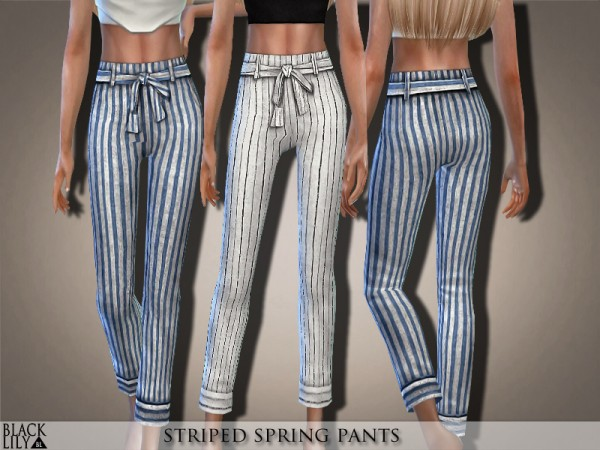 The Sims Resource: Striped Spring Pants by Black Lily