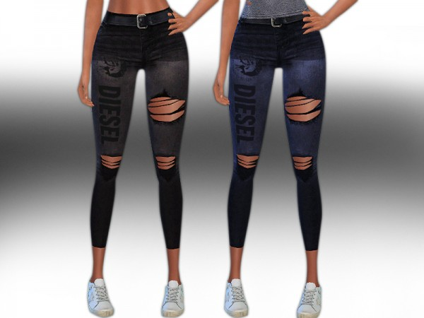 The Sims Resource: Diesel Ripped Jeans with Belt by Saliwa
