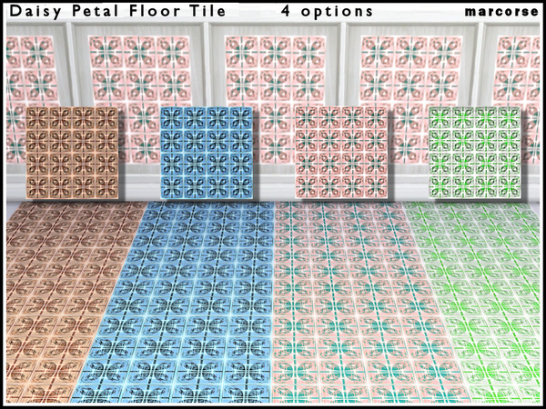 The Sims Resource: Daisy Petal Floor Tile by marcorse