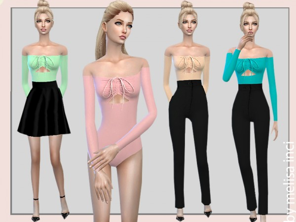 The Sims Resource: Off Shoulder Cutout Bodysuit by melisa inci