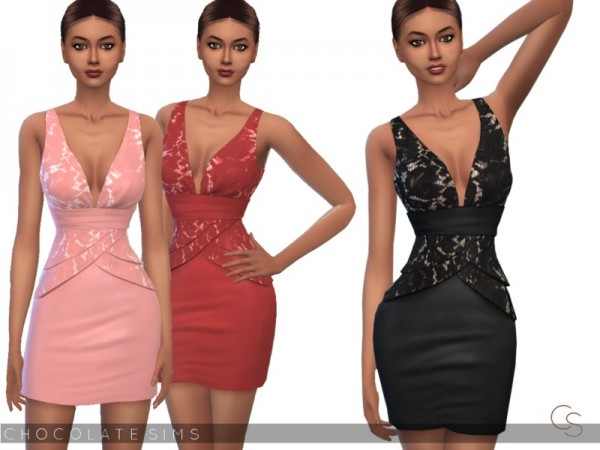 The Sims Resource: Lace Dress Stella by MissSchokoLove