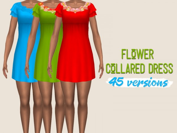 Simsworkshop: Flower Collared Dress by midnightskysims