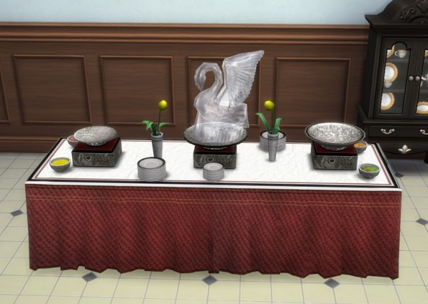 Simsworkshop: Pet Stories Buffet Table with Ice Swan by BigUglyHag