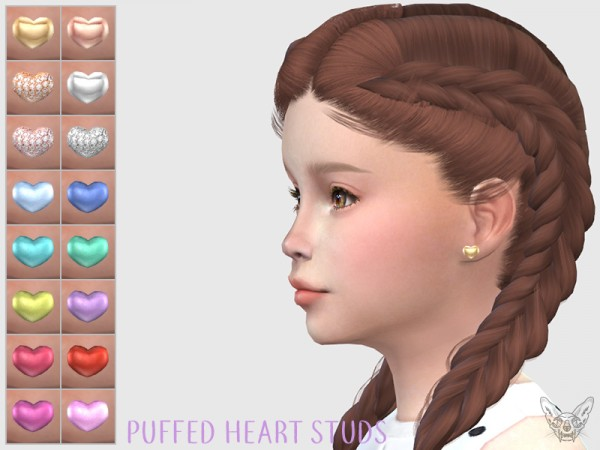 Giulietta Sims: Puffed Hearts Studs For Kids
