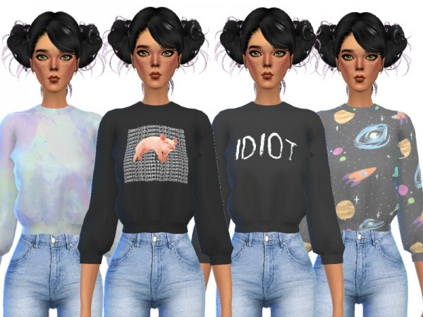 The Sims Resource: Tumblr Themed Crop Tops by Wicked Kittie