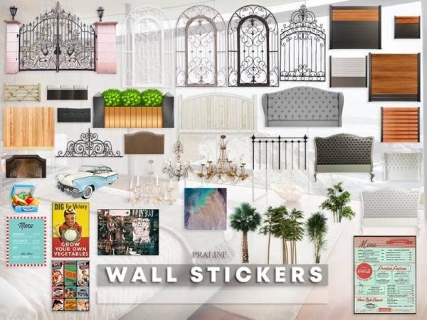 The Sims Resource: Wall Stickers by Pralinesims