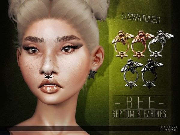 The Sims Resource: Bee Earrings and Septum by Blahberry Pancake