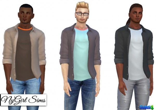 NY Girl Sims: Rolled Sleeve Button Up with Layered Tee