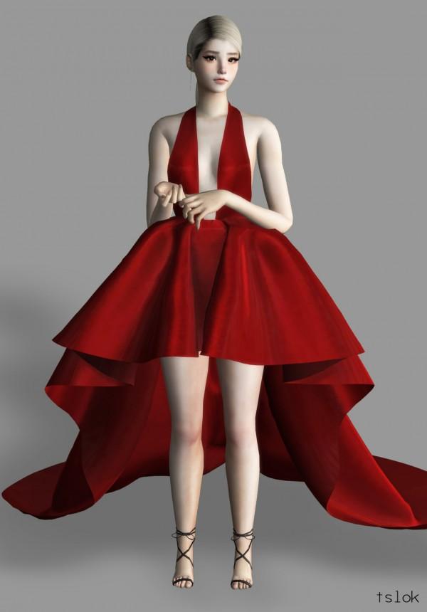 Tslok: Dawn satin high low dress