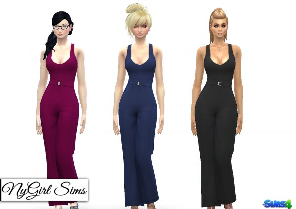NY Girl Sims: Tank Jumpsuit with High Waist Belt