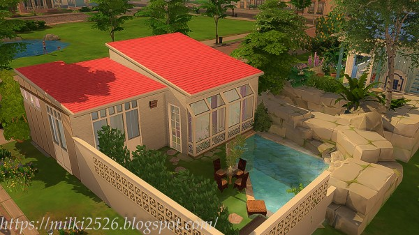 Milki2526: Pink roof house