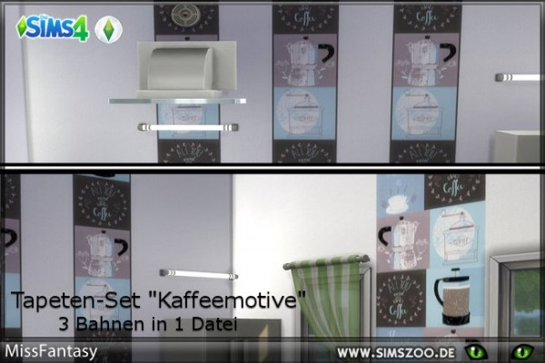 Blackys Sims 4 Zoo: Coffee motives walls by MissFantasy