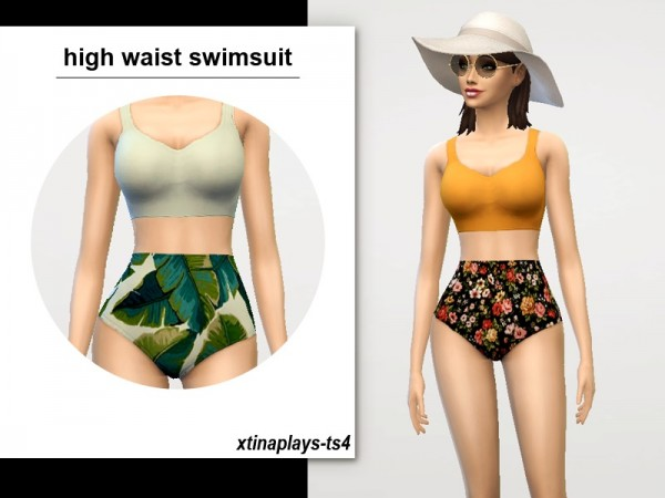 The Sims Resource: High Waist Swimsuit by xtinaplays ts4