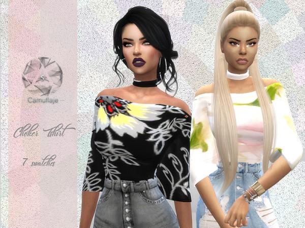 The Sims Resource: Choker T Shirt by Camuflaje