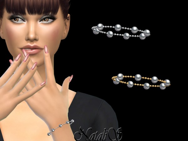 The Sims Resource: Multi pearl chain bracelet by NataliS
