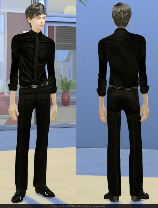 Twinklestar: Black Tie Shirt and Pants