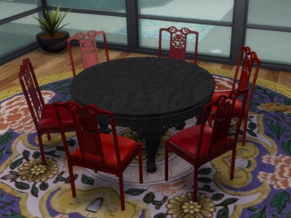 Simsworkshop: 6 seat Semicircular Table by BigUglyHag