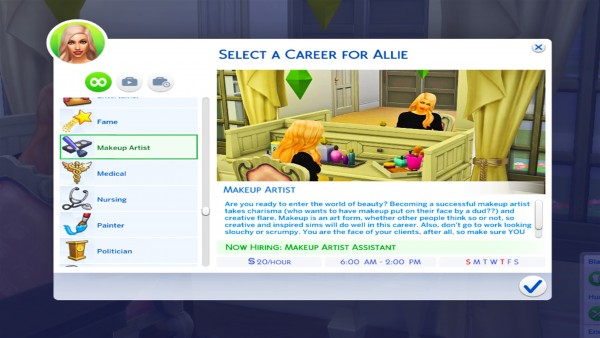 Mod The Sims: Makeup Artist Career  10 levels by KPC0528