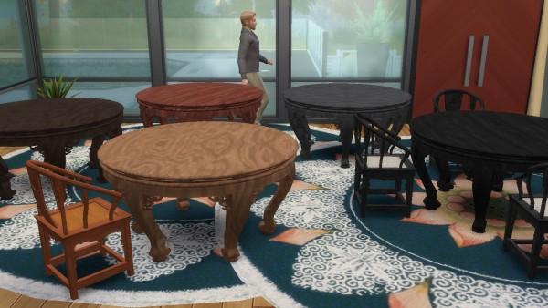 Simsworkshop: Semicircular Table 8 Seat by BigUglyHag