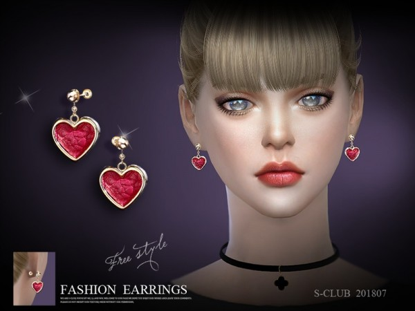 The Sims Resource: Earring 201807 by S Club
