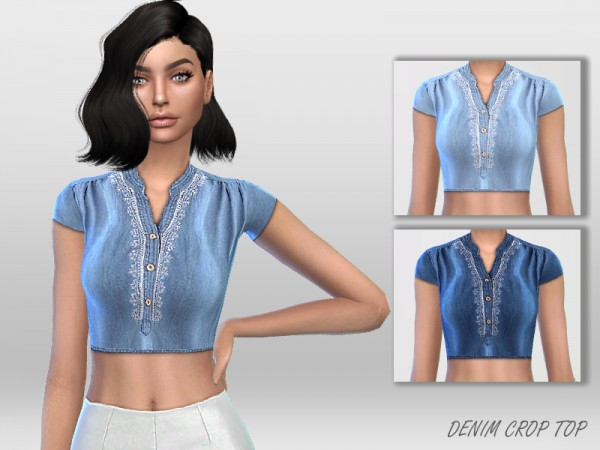 The Sims Resource: Denim Crop Top by Puresim