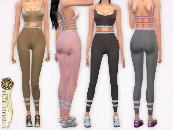 The Sims Resource: Stripe Detail Contrast Leggings by Harmonia
