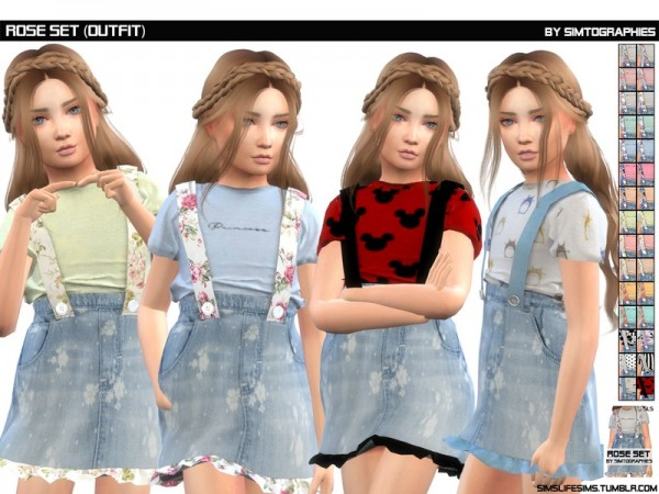 The Sims Resource: Rose Set Outfit by simtographies