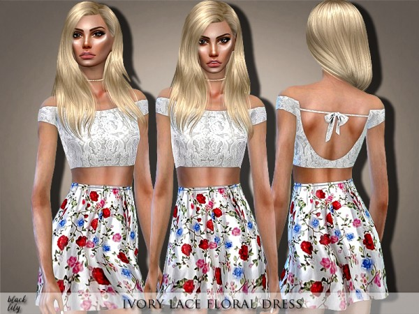 The Sims Resource: Ivory Lace Floral Dress by Black Lily
